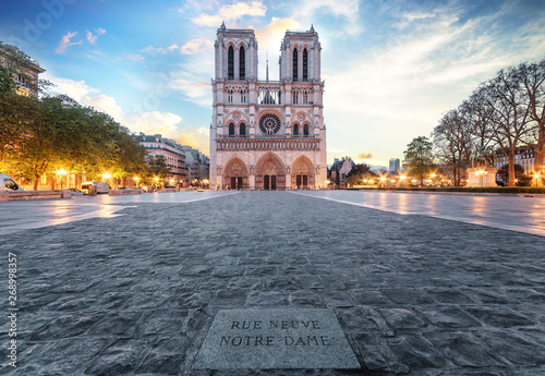 Notre Dame de Paris front square very early in the morning with no people. One week before the destructive fire on the 15.04.2019. Front entrance view Paris, France.