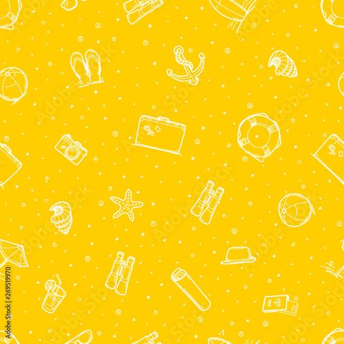 Seamless pattern of beach elements. Yellow wallpaper