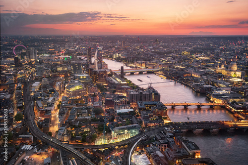 Aerial view of London skyline at sunset, United Kingdom .