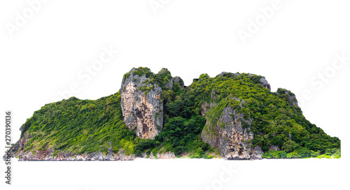 isolated green mountain and cliff rock