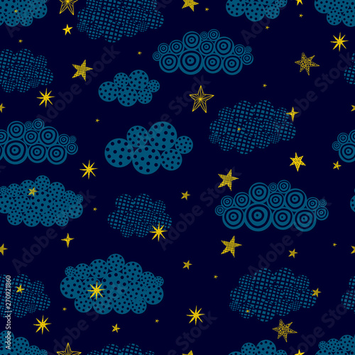 Gold stars and black clouds.. Seamless vector pattern. Seamless pattern can be used for wallpaper, pattern fills, web page background, surface textures.