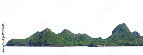 The trees on the island and cliff rocks. Isolated on White background