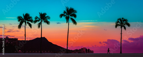 Tropical Paradise Art Sunrise na Waikiki na Hawajach