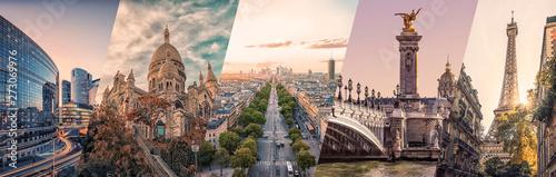 Kolaż słynnych zabytków Paryża
