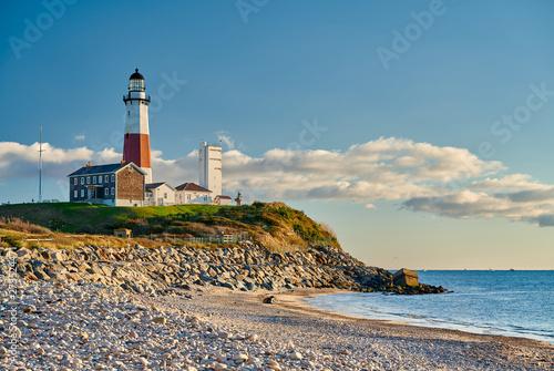 Montauk Lighthouse and beach, Long Island, New York, USA.