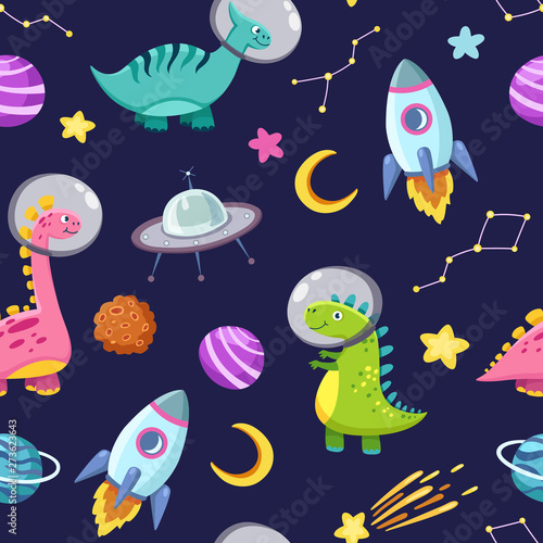 Dino in space seamless pattern. Cute dragon characters, dinosaur traveling galaxy with stars, planets. Kids cartoon vector background. Illustration of astronaut dragon, kids wrapping with cosmic dino