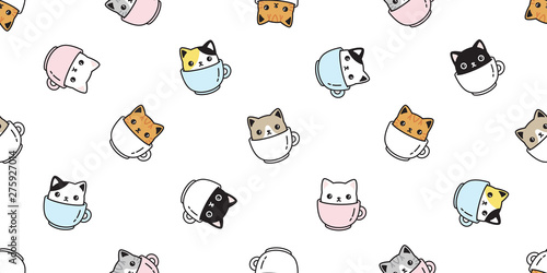 cat seamless pattern vector kitten coffee cup calico breed scarf isolated cartoon repeat background tile wallpaper illustration pastel design