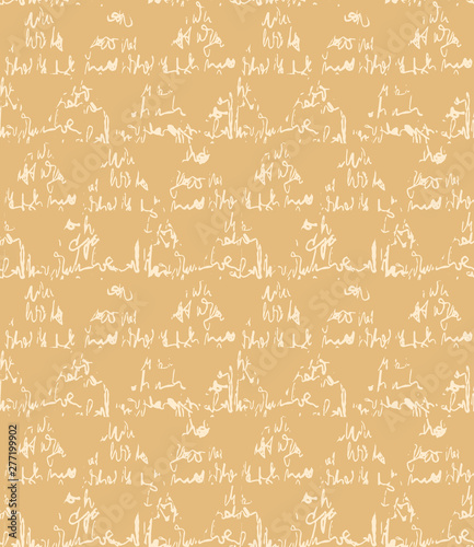 Seamless vector pattern. Hand drawn script textured triangle. Repeating geo background. Monochrome yellow design textile swatch. Modern geometric grid yellow wallpaper. Scribbles all over print