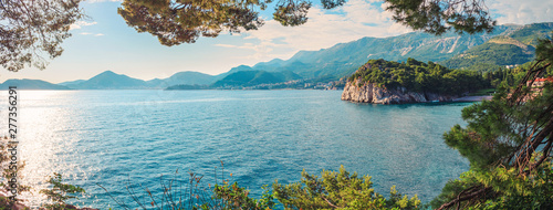 Picturesque summer view to Adriatic sea coast nea the villa Milocer with Royal beach in Montenegro, Amazing spot to visiting in Europe
