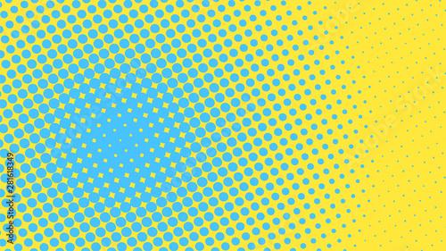 Żółte i niebieskie tło pop-artu z kropkami projektowania, streszczenie ilustracji wektorowych w stylu retro komiksów