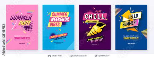 Zestaw plakatów reklamowych w sezonie letnim w stylu pop-art.