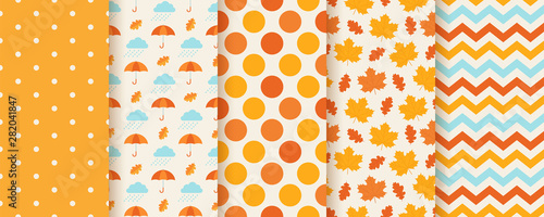 Autumn pattern. Vector. Seamless texture with fall leaves, polka dot, umbrella and zig zag. Seasonal geometric prints. Cute abstract backgrounds. Colorful cartoon illustration. Set orange wallpapers.