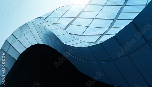 Modern architecture business building abstract curve line details steel facade background .