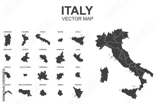 wektorowa mapa Włoch z granicami regionów