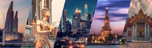 Bangkok miasta zabytków sławny kolaż.