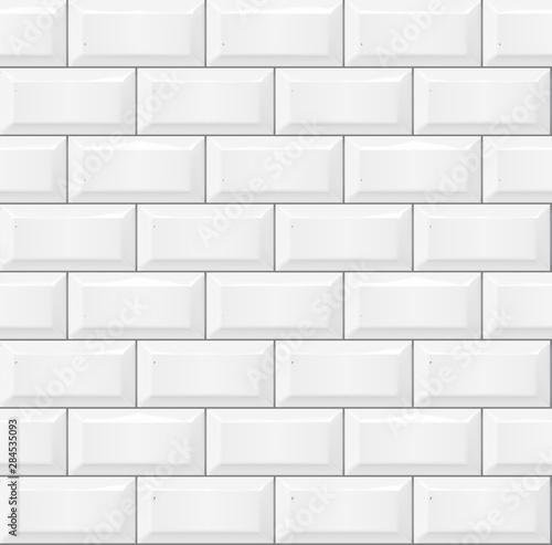 Seamless smooth metro tile texture - realistic white brick background