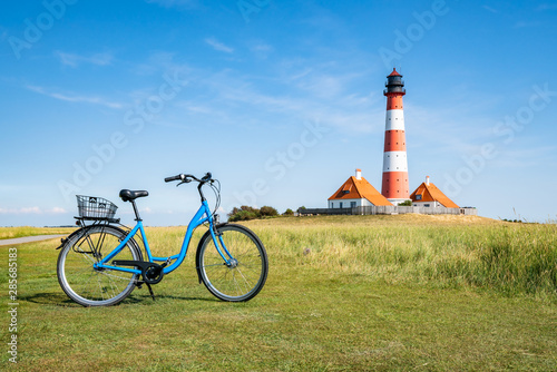 Bicycle tour to the Westerheversand lighthouse near St. Peter Ording, Schleswig-Holstein, Germany