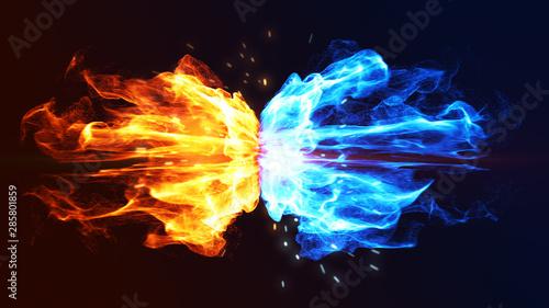 Koncepcja ognia i lodu z iskrą. 3d ilustracji.
