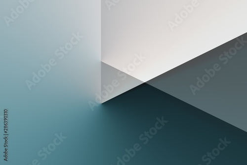 Illustrated background, triangle texture, video play button. Color blue.