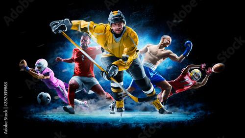 Wielo- sport szkoły wyższa futbolowy bokserski piłka nożna hokeja lodu hokej na czarnym tle