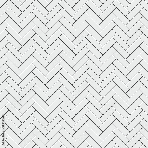 Seamless pattern with modern rectangular herringbone white tiles. Realistic diagonal texture. Vector illustration.