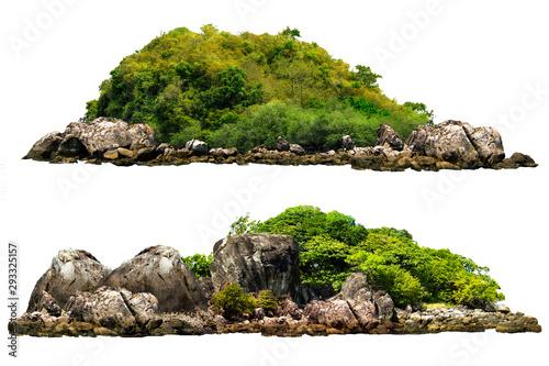 Drzewa na wyspie i skały. Pojedynczo na białym tle