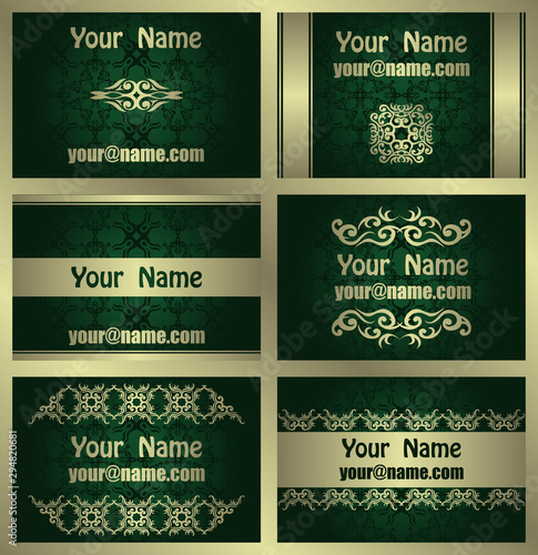 Set of business card with luxury gold floral decoration and seamless green wallpaper