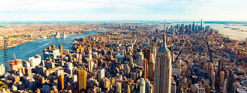 Widok z lotu ptaka drapacze chmur Midtown Manhattan Miasto Nowy Jork