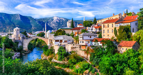 Amazing iconic old town Mostar with famous bridge in Bosnia and Herzegovina