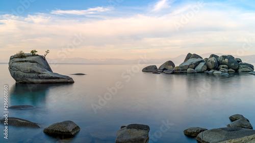 Bonsai Rock in Lake Tahoe, Nevada near Reno, located along the east shore of Lake Tahoe.