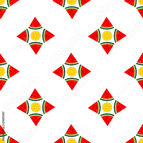seamless pattern watermelon and orange. wallpaper ornament of fruit motifs, with a white background.
