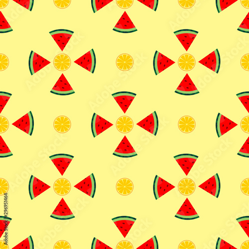 seamless pattern watermelon and orange. wallpaper ornament of fruit motifs, with a orange background.