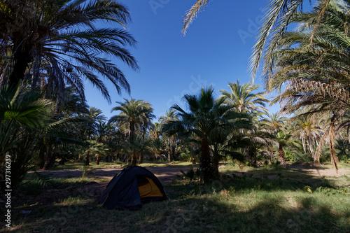 Kemping w Meksyku z żółtym namiotem