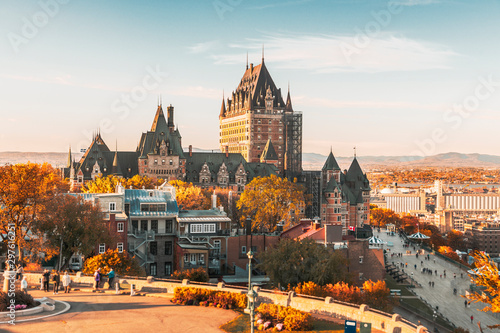Cityscape or skyline of Chateau Frontenac, Dufferin Terrace and Saint Lawrence river at overlook in old town