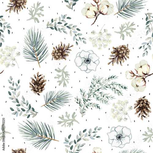 Christmas seamless pattern, cones, flowers, green pine twigs, white background. Vector illustration. Nature design. Season greeting. Winter Xmas holidays