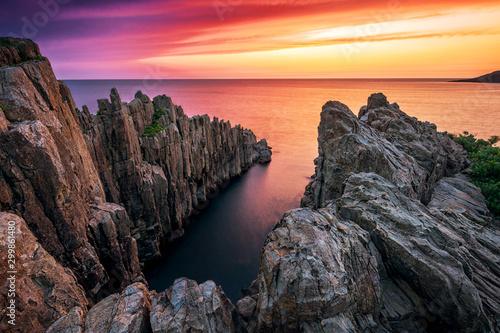 Tojinbo cliffs at dusk