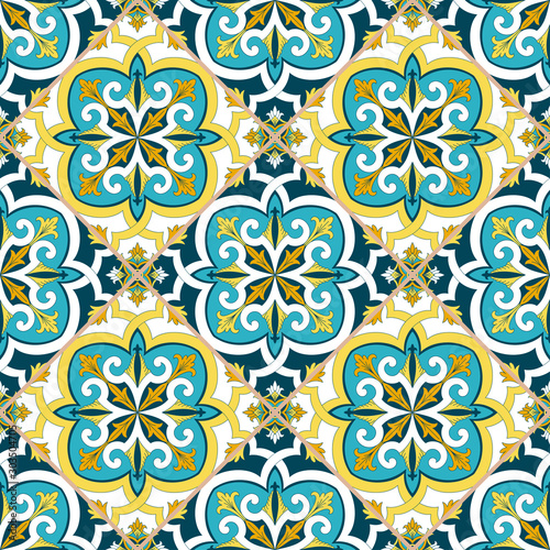 Italian tile pattern vector seamless with flowers ornaments. Portuguese azulejos, mexican talavera, sicily majolica, spanish design. Ceramic texture for kitchen wallpaper or bathroom flooring.