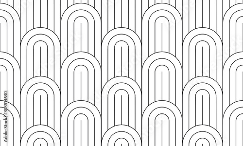 Geometric seamless pattern, black and white geo fabric print, seamless overlay texture, vector illustration.