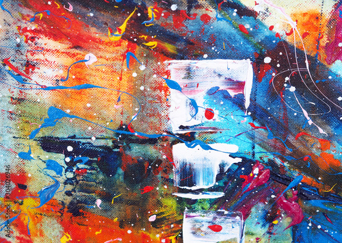Hand draw colorful watercolor painting abstract background with texture