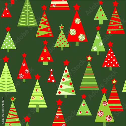 Seamless green wallpaper with funny cut out paper abstract green and red firs for Christmas greeting design. Flat style