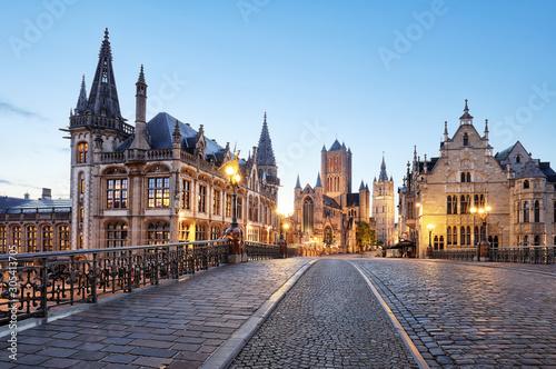 Belgium historic city Ghent at sunset