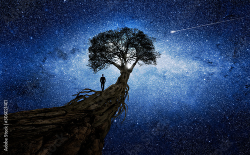 Man under a tree in front of the universe