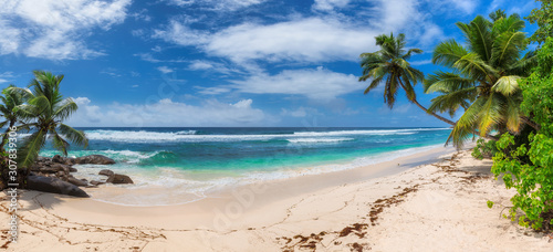 Panoramic view of exotic tropical beach, coconut palms and blue sea in Seychelles.