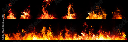 Set of Panorama Fire flames on black background.