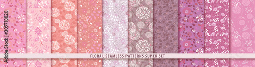 Floral seamless red pattern set. Flowers and leaves.. Color vector background. Summer and spring print
