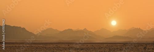 sunset in Sahara desert