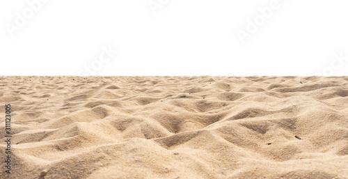 Beach isolated, beach sand texture di-cut on white.