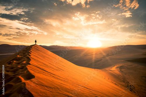 Dramatic sunrise in the Namibian desert