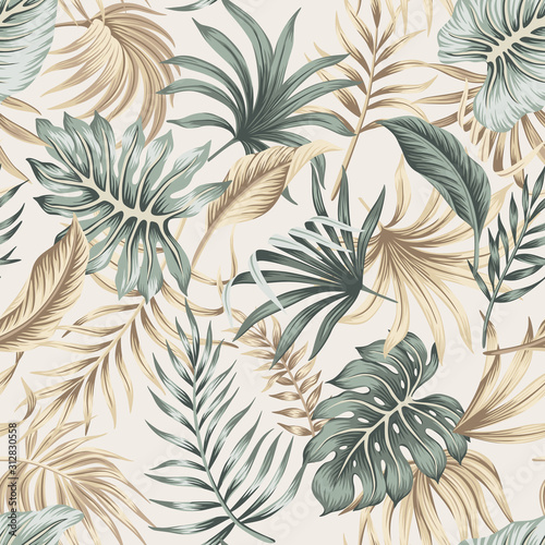 Tropical floral foliage palm leaves seamless pattern beige background. Exotic jungle wallpaper.