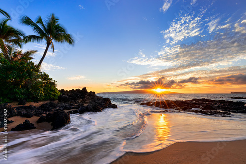 Sunset at Makena Secret Beach in Wailea, Maui, HI
